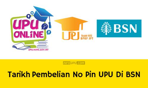 Tarikh Pembelian No Pin Upu 2021 Di Bsn Info Upu