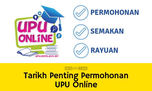 Tarikh Penting Permohonan UPU online